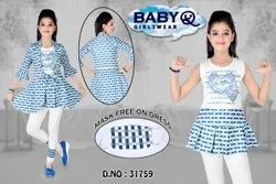 BLUE & WHITE GIRLS FROCK SUIT