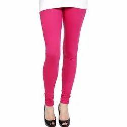 Cotton Pink Ladies Churidar Plain Leggings
