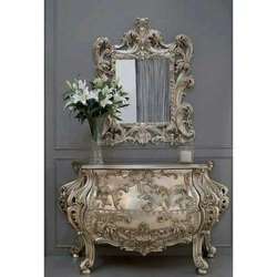 Wooden And Glass Decorative Mirror With Table, For Home, Hotel