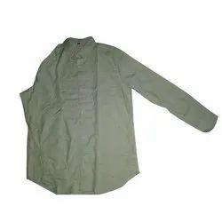 FST Light Green Men Collar Neck Plain Shirt