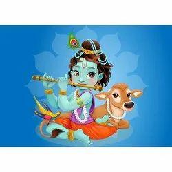 2D Stickers Paper Lord Krishna Wall Sticker, Size/Dimension: 12 X 18 Inches