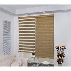 Wooden Brown Modern Zebra Blind