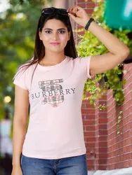 Round Peach Women Fancy T-shirt, Size: Free Size