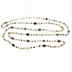 Sparkling Silvex Silver Multi Stone Chain Gold Plated