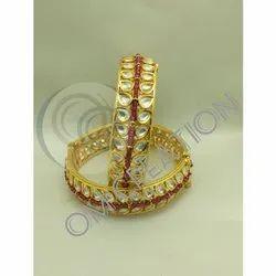 Brass Party Wear Fancy Kundan Bangle
