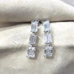 Emerald Cut Moissanite Earrings Screw Back Stud Earrings White Gold Moissanite Diamond Stud Earrings