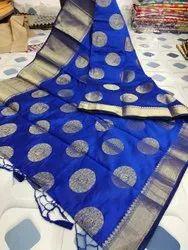 Blue Golden Ball Silk Saree, 6.3 m (with blouse piece)
