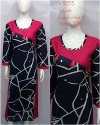 Party Wear Straight Ladies Printed Full Sleeve Rayon Kurti, Size: S to XXL, Wash Care: Handwash