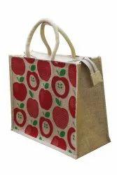 Jute Printed Apple Design Shopping Bag, Capacity: 10 Kg, Size: H14