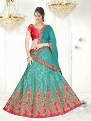 Green And Red Party Wear Designer Lehenga Choli, 2.5 M