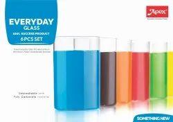 Transparent Poly Carbonate Apex Everyday Glass 6 Pcs Set
