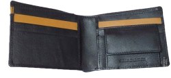 Black & Brown Men's Designer Leather Bifold Wallet, Card Slots: 5