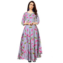 Grey Designer Printed Jaipuri Rayon Middi Dress