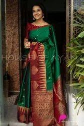 Diseno Green Aayana Stylish Silk Saree, With Blouse Piece, 5.5 m (Separate Blouse Piece)