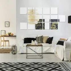 KC DECOR Wall Mirrors Flexible Real Glass Flat Frameless 4-Piece Set,, For multi usage