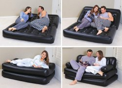 Air Sofa Bed 5 In 1 Inflatable Couch With Free Electric Pump (Black)