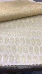Zari Fancy Party Wear Printed Silk Fabric, Handwash