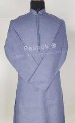 Casual Wear Blue Dobby Weave Kurta Pajama, Dry clean