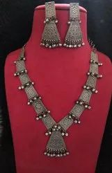 Oxidised Long Necklace With Earrings