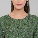 Janasya Women's Green Rayon Western Dress(J0194)