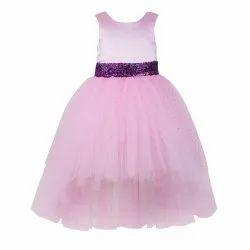 Plain Net TBKF2001BP - Kids Girls Baby Pink High Low Party Wear Dress, Size: 2-12 Years