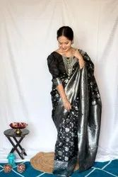 Party Wear Printed Lichi Silk Saree, 6.3 m (With Blouse Piece)