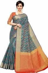 Party Wear Woven Fashion Jacquard Poly Silk Saree, 6 m (with blouse piece)