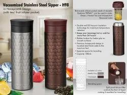 Vacuumized Tea/ Fruit Infuser SS Sipper In Honeycomb Design