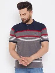 Men Striped Polo Cotton T Shirt