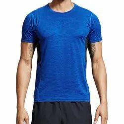 Polyester Blue Mens Gym T Shirt