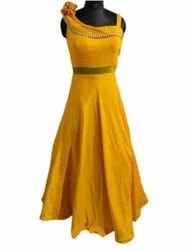 Party Wear Plain Ladies Yellow Ball Gown