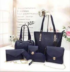 Ladies Designer Navy Blue Handbag Set