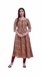 Silk Formal Wear Floral Print Round Neck Ladies Kurti