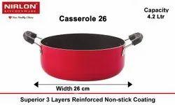 Nirlon Non Stick Aluminum Casserole/Biryani Pot, Red-4.2Litre, 26CM