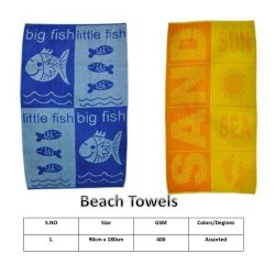 Mauria Rectangular 400 GSM Beach Towels, Size: 90X180CM