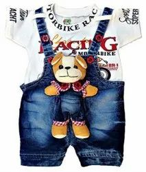 Blue, White Kids Teddy Bear Denim Dungarees