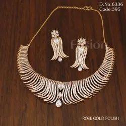 American Diamond Rose Gold Polish Necklace Set
