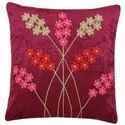 Red Color Flower Embroidery Work Cushion Cover