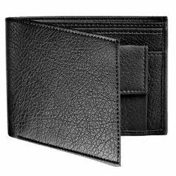 Black Men's PU Leather Wallet, Card Slots: 3