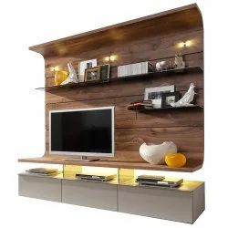 Brown Plywood TV Wall Unit, For Home