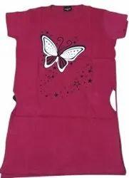 Girls Pink Printed Long Top