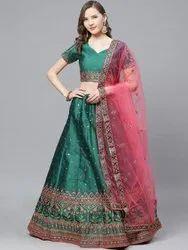 Semi Stitched Laxmi-2079-Blue-LH Designer Silk Blend Party Wear Lehenga Choli