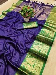 Wedding Wear Border Cotton Silk Saree, Without Blouse Piece, 6.3 m (with blouse piece)