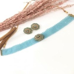 R-Chie Creations Brass,Pearls Firoza Choker Jewellery Set