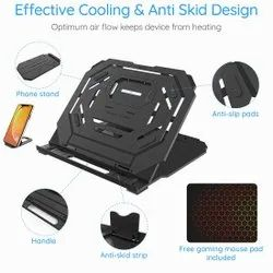 PIXIRI USA T3 10 Step Adjustable Swivel Laptop Stand With Mobile Holder and Free Gaming Mouse Pad