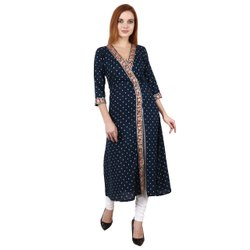 Casual Wear Straight Women Designer Rayon Lace Kurti, Wash Care: Machine wash