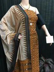 Nuapatna 45 inch Ladies Printed Ikkat Cotton Unstitched Suit