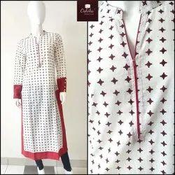 S-XXL Designer Ladies Printed Cotton Full Sleeve Kurti