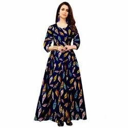 Stitch Printed Party Wear 3/4th Sleeve Black Women Gown, Size: Free Size