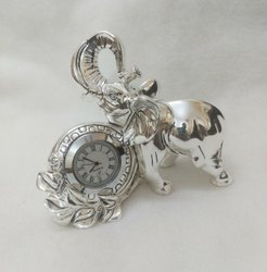 Silver Plated Elephant Statue With Watch